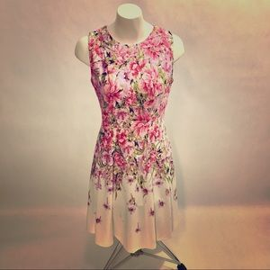 DANNY & NICOLE Pink Floral Fit & Flare Mini Dress